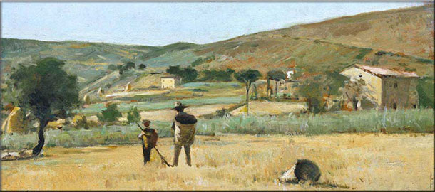 Paesaggio del Gabbro con contadini, Silvestro Lega