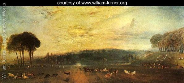 The Lake, Petworth - Sunset, fighting bucks, William Turner