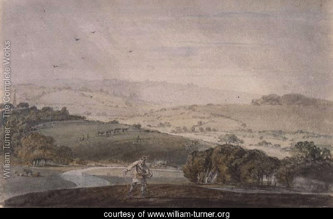 A Farmer Sowing, with a River Valley and Rolling Hills Beyond, William Turner
