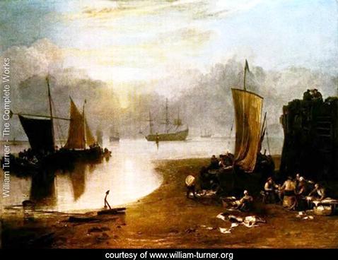 Sun Rising Through Vapor, Fisherman Cleaning and Selling Fish,   William Turner