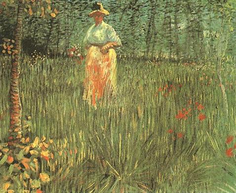 A woman walking in garden - Vincent Van Gogh