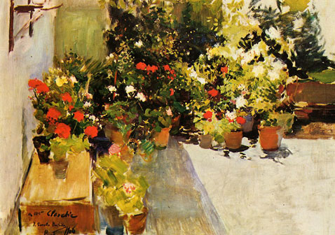 A Rooftop With Flowers - Joaquin Sorolla
