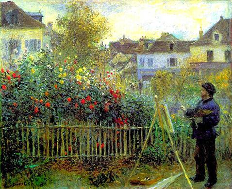 Monet painting in his garden at Argenteuil - Auguste Renoir