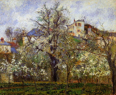 The Vegetable Garden with Trees in Blossom - Camille Pissarro