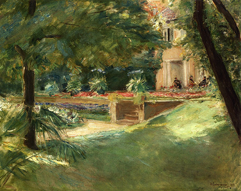Terrace overlooking the flower garden in Wannsee - Max Liebermann