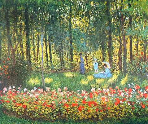 The Artist's Family in the Garden - Claude Monet