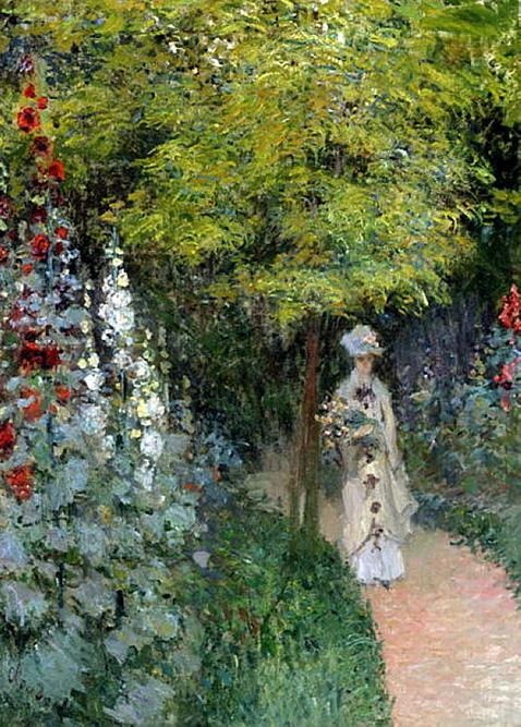 The Garden Hollyhocks - Claude Monet