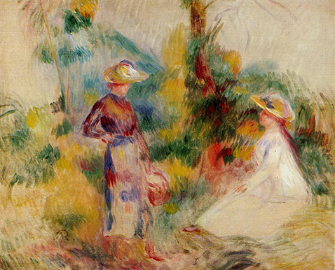 Two Women in a Garden - Auguste Renoir