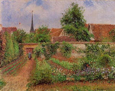 Vegetable Garden in Eragny Overcast Sky Morning - Camille Pissarro