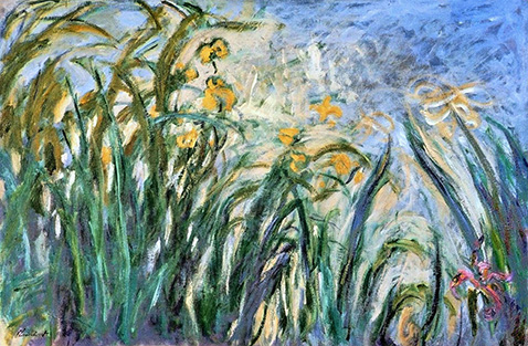 Yellow Irises and Malva - Claude Monet