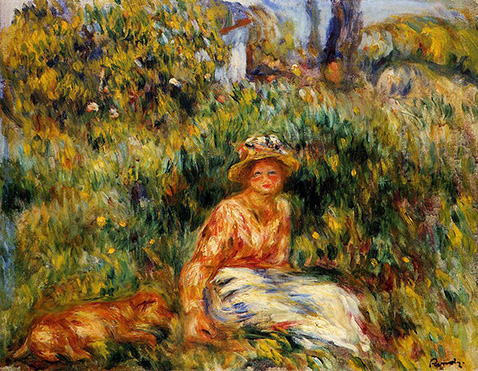 Young Woman in a Garden - Auguste Renoir