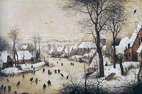 Paesaggio invernale con pattinatori e trappola per uccelli - Pieter Brueghel Il Vecchio