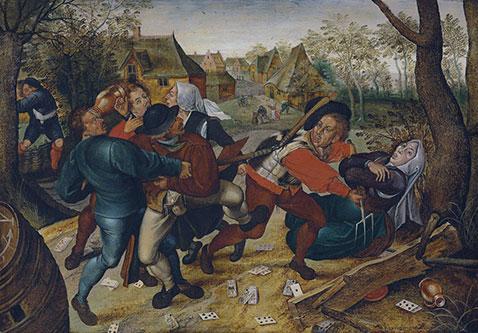 Rissa di contadini che giocano a carte - Pieter Brueghel Il Giovane