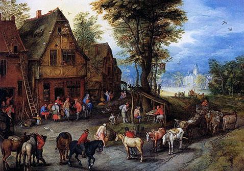 Sacra famiglia alla locanda - Jan Brueghel Il Vecchio
