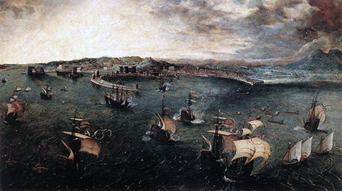 Veduta del porto di Napoli - Pieter Brueghel Il Vecchio
