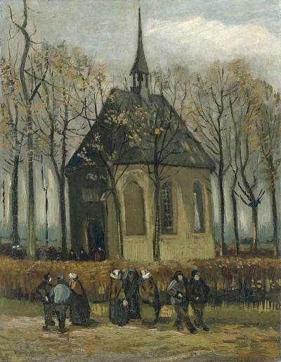 La chiesa di Nuenen con i fedeli, 1884