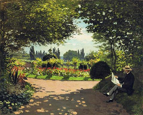 adolphe-monet-reading-in-the-garden-claude-monet-