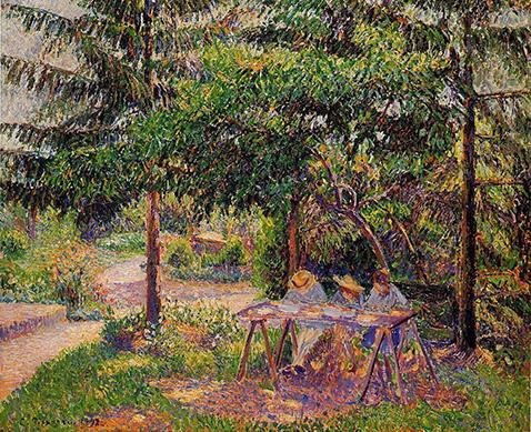 children-in-a-garden-at-eragny-camille-pissarro