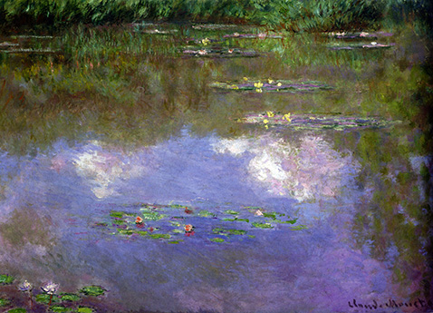 water-lilies-the-clouds-claude-monet-